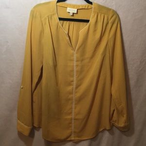 Modcloth yellow blouse NWOT size large